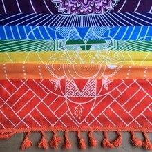 코튼 보헤미아로 만든 더 나은 품질 인도 만다라 담요 7 차크라 레인보우 줄무늬 태피스 트리 비치 타월 요가 매트