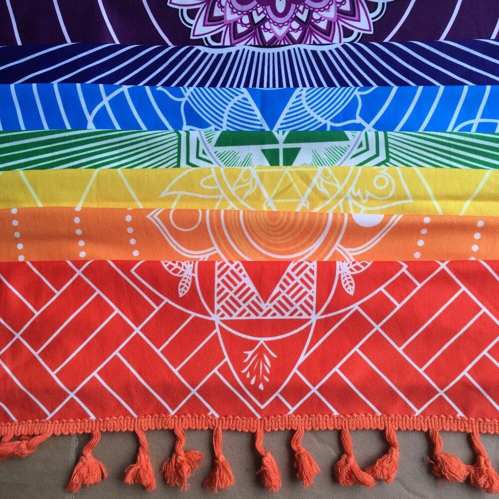 Melhor Qualidade Feito De Algodão Boemia India Mandala Tapeçaria Cobertor 7 Chakra Rainbow Stripes Praia Jogar Toalha Tapete de Yoga