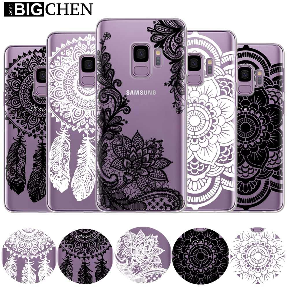 Floral Lace Mandala Case For Samsung Galaxy S9 S10 Plus S10e A50 A30 A6 A8 Plus 2018 A9 A7 Soft TPU Silicone Phone Back Cover