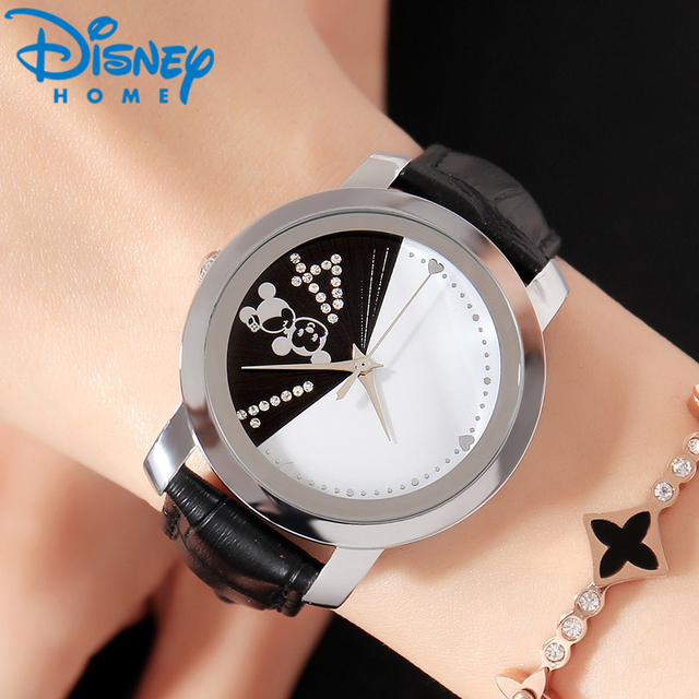 Disney Mickey Mouse Fashion Couple Watches for Lovers Luxury Quartz Wristwatch L