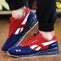 Zapatos de Los Hombres casuales Marca de Lujo de Malla Transpirable de Encaje Hasta Zapatillas de Deporte de Cuero de Gamuza Plana Zapatos Para Hombre Entrenadores Superestrella Cesta