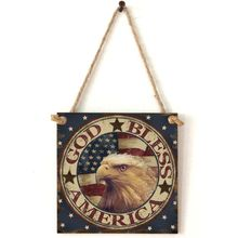 Vintage Wooden Hanging Plaque God Bless America Sign Board Wall Door Home Decoration Independence Day Party Gifts цена 2017
