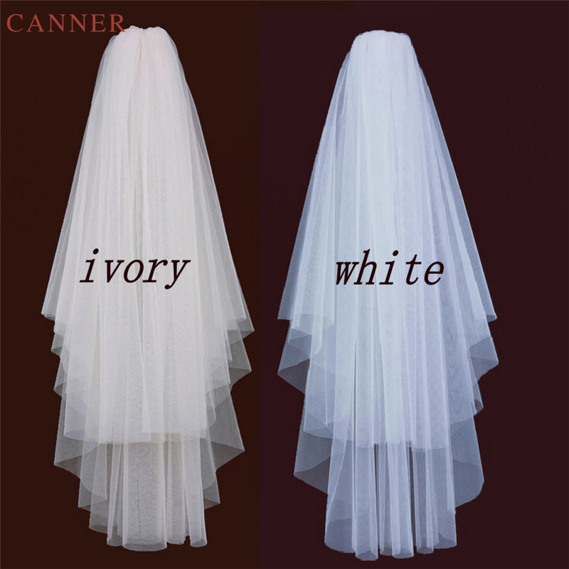 85cm*150cm Simple Two Layers Wedding Veils Ivory White Short Tulle Bridal Veil With Comb Wedding Accessories C40