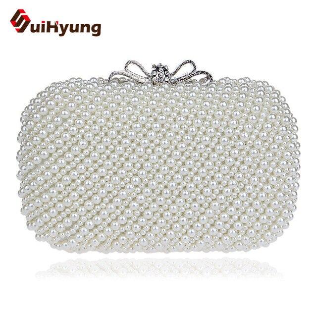 Free Shipping Women Retro Beaded Day Clutch. Fashion Elegant Pearl Handbag Wedding Party Evening Bag With Bow Buckle White Beige