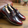 British style Vintage Men Flats Autumn Breathable Casual Business shoes Slip-On Cow Split leather Male Loafers 2/5