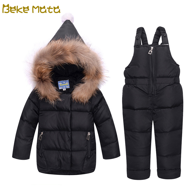 BEKE MATA Baby Down Jackets Set Winter 2018 Toddler Girl Clothing Sets Coat+Pant Hooded Warm Kids Coat Boys Children Snowsuit winter baby girls clothing sets hooded velvet jacket pant suit children warm thick clothing set toddler kids snowsuit set