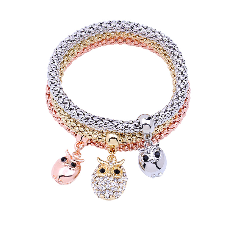 Shamballa beautiful crystal bracelet female geometric elephant pendant stretch corn chain charm bracelet set of Christmas gifts