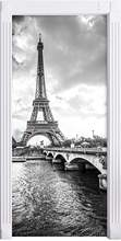 HOT Wall Stickers Black White Pairs Eiffel Tower DIY Door Mural Bedroom Home Decor Poster PVC Waterproof Door Sticker 77x200cm(China)