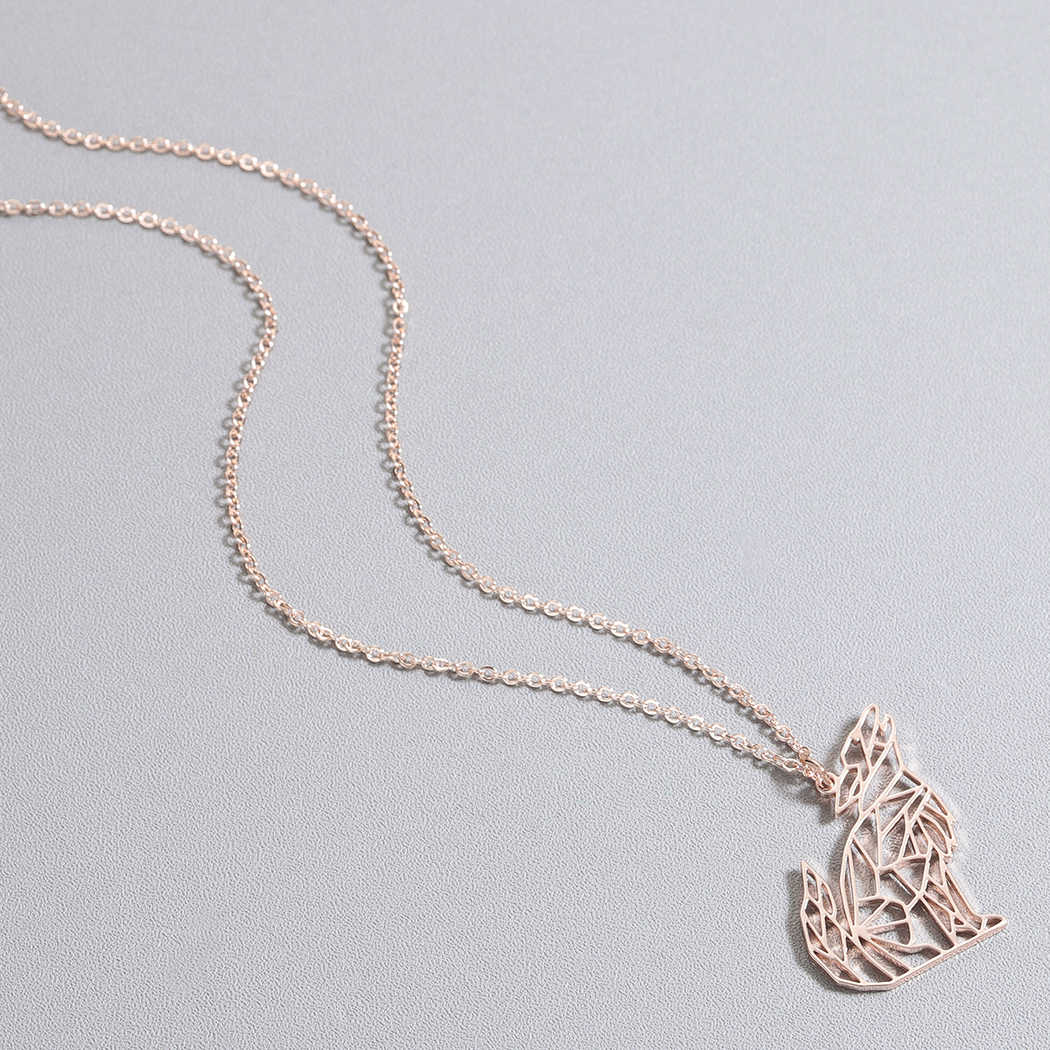 Origami wilk wisiorek z motywem zwierzęcym naszyjnik dla kobiet mężczyzn biżuteria ze stali nierdzewnej wyjący wilk naszyjnik Mickey naszyjniki męski prezent