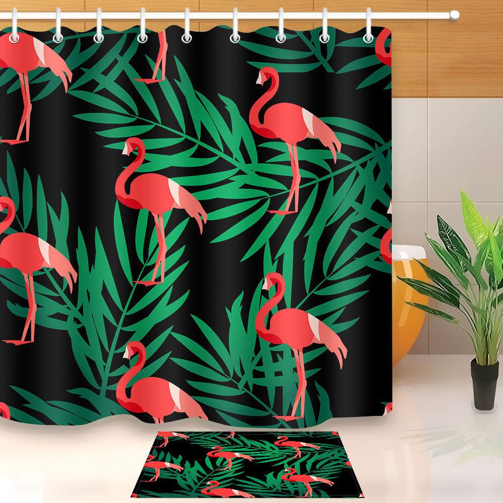 Flamingo Fabric Shower Curtain Liner Polyester Waterproof Bathroom Decor Mat