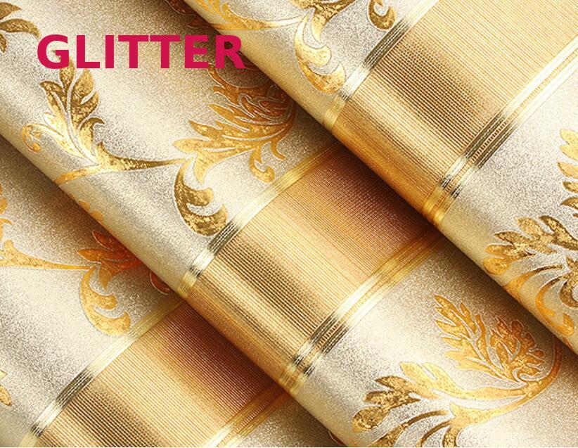 Italian Style Modern Gold Striped Wallpaper Papel De Parede 3d Paisagem Glitter Paper Gold And Yellow Striped Flower Wallpaper striped fitted sheet