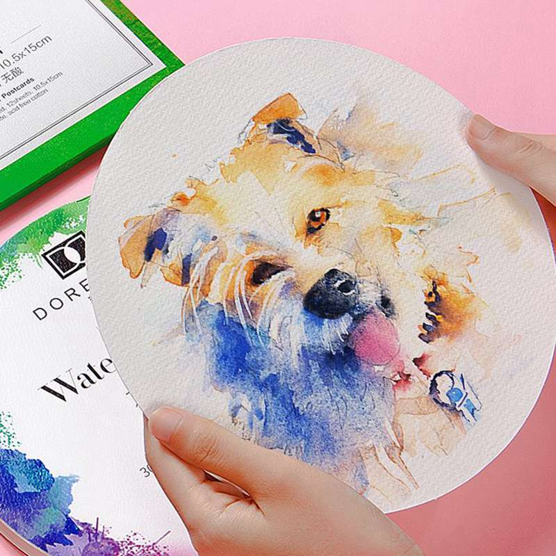 Portable Round Postcard Cotton Watercolor Paper Pad 300g Aquarelle Painting Paper Book Hand Painted Aquarel Art Supplies