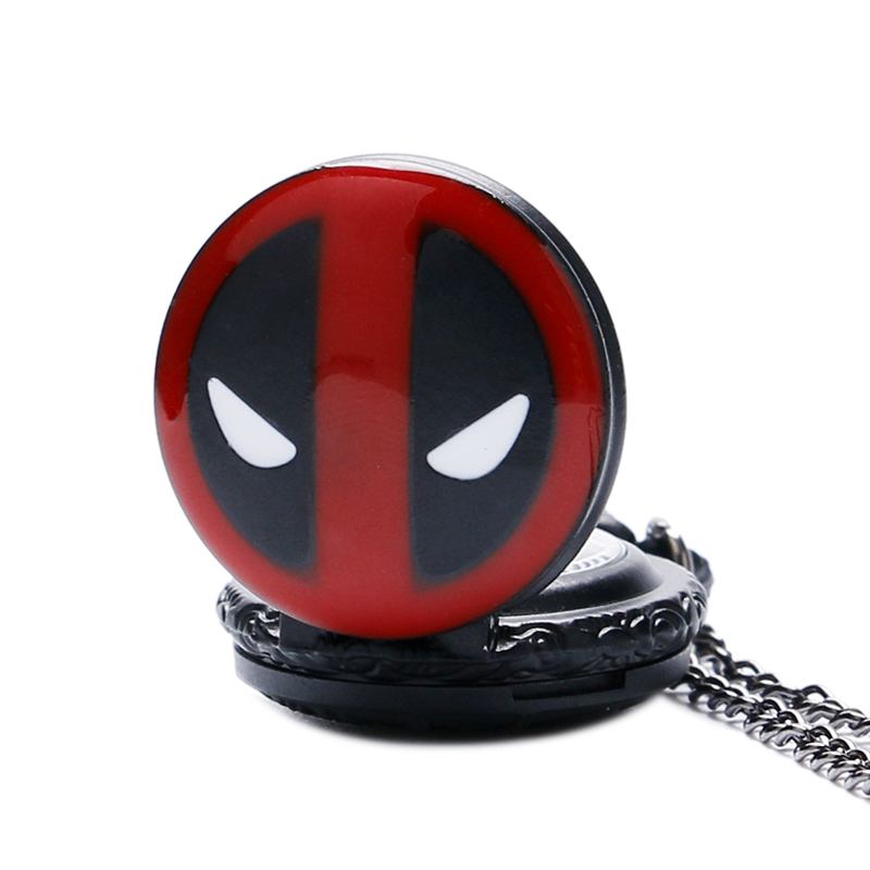Fashion DEADPOOL Marvel Animation Anime Bullet Bronze Quartz Pocket Watch Pendant Necklace Mens Womens Kids White Dial Gifts