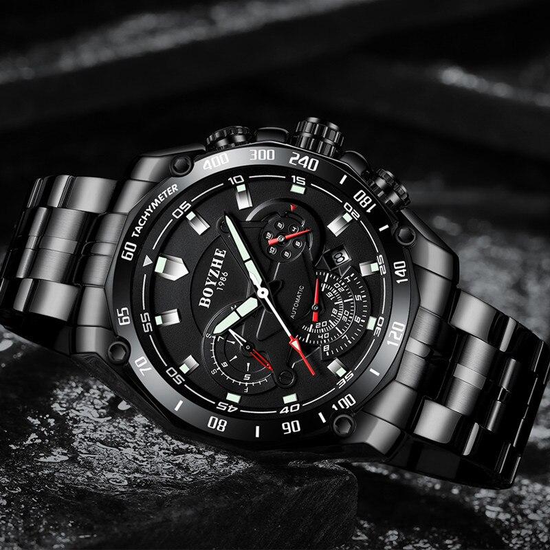 Boyzhe 남자 자동 기계식 시계 빛나는 럭셔리 브랜드 시계 남자 군사 스포츠 스테인레스 스틸 시계 relogio masculino-에서스포츠 시계부터 시계 의  그룹 3