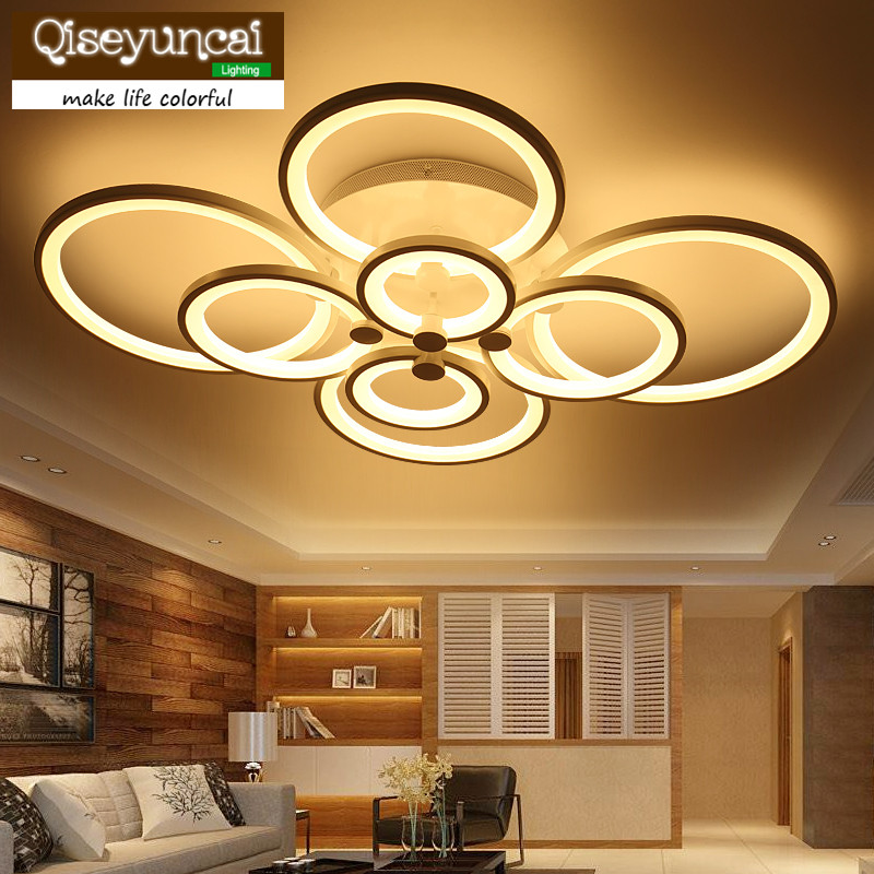 Ceiling Lamp Qiseyuncai Living Room Lamp White Led Superposition Modern Fashion Tricolor Dimming To Rank First Among Similar Products Multi Ring