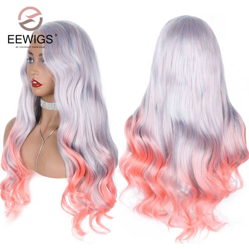 EEWIGS Glueless Long Natural Wave Synthetic Lace Front Wigs Highlight Heat Resistant Pink Ombre Wigs for Women Drag Queen Makeup
