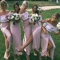 Duas Peças de Renda Branca Da Dama de Honra Vestidos Sexy Off The Shoulder Boat Neck Manga Curta Wedding Party Guest Vestido de Comprimento No Tornozelo