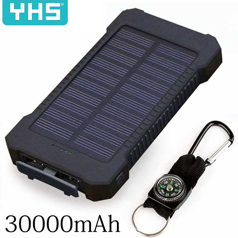 External-Charger Led-Light 30000mah Xiaomi Smartphone Powerbank Waterproof 2-Usb-Ports