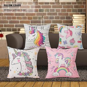 Image 5 - 45x45CM Karikatür Unicorn Yastık Kılıfı Çocuksu Gökkuşağı Sevimli Baskı minder örtüsü Dekoratif Atmak Yastık Kılıfı Araba Kanepe Ev Dekor