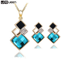 New Fashion Geometry Square Jewellery Set Wedding Jewerly Sets For Women With Blue Crystal African Female Jewelry Set(China)