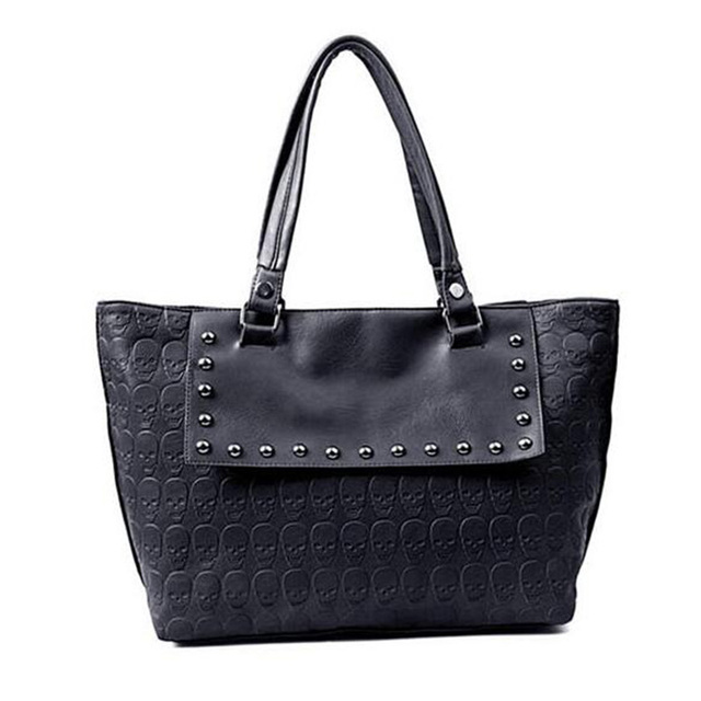 Skull Bag Ladies PU Leather Hand Bag Cool Skull Black Shoulder Bag Women  Rivet Handbag Big 510c28448cbe8