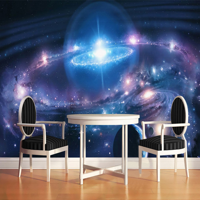 Modern Minimalist Starry Sky Cosmic Galaxy 3D Wall Mural Wallpaper Restaurant KTV Bar Kid's Room Interior Decor Fresco Wallpaper custom 3d stereo ceiling mural wallpaper beautiful starry sky landscape fresco hotel living room ceiling wallpaper home decor 3d