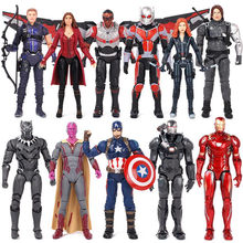 New Avengers 3 17 cm PVC Action Figure Toy Civil War Captain America Iron Man Black Widow Black Panther Scarlet Witch Ant Man(China)