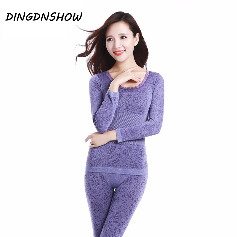 2020 Lace Thermal Underwear Sexy Ladies Clothes Winter Seamless Antibacterial Warm Intimates Print Long Johns Women Shaped Sets(China)