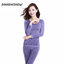 2020 الدانتيل ملابس اخلية حرارية مثير السيدات ملابس الشتاء سلس مضاد للجراثيم الدافئة العشير طباعة طويلة جونز النساء على شكل مجموعات
