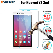 For Huawei Ascend Y3 2nd No Fingerprint Premium Tempered Glass Explosion-proof Anti-scratch 2.5D Arc Edge Screen Protector Film