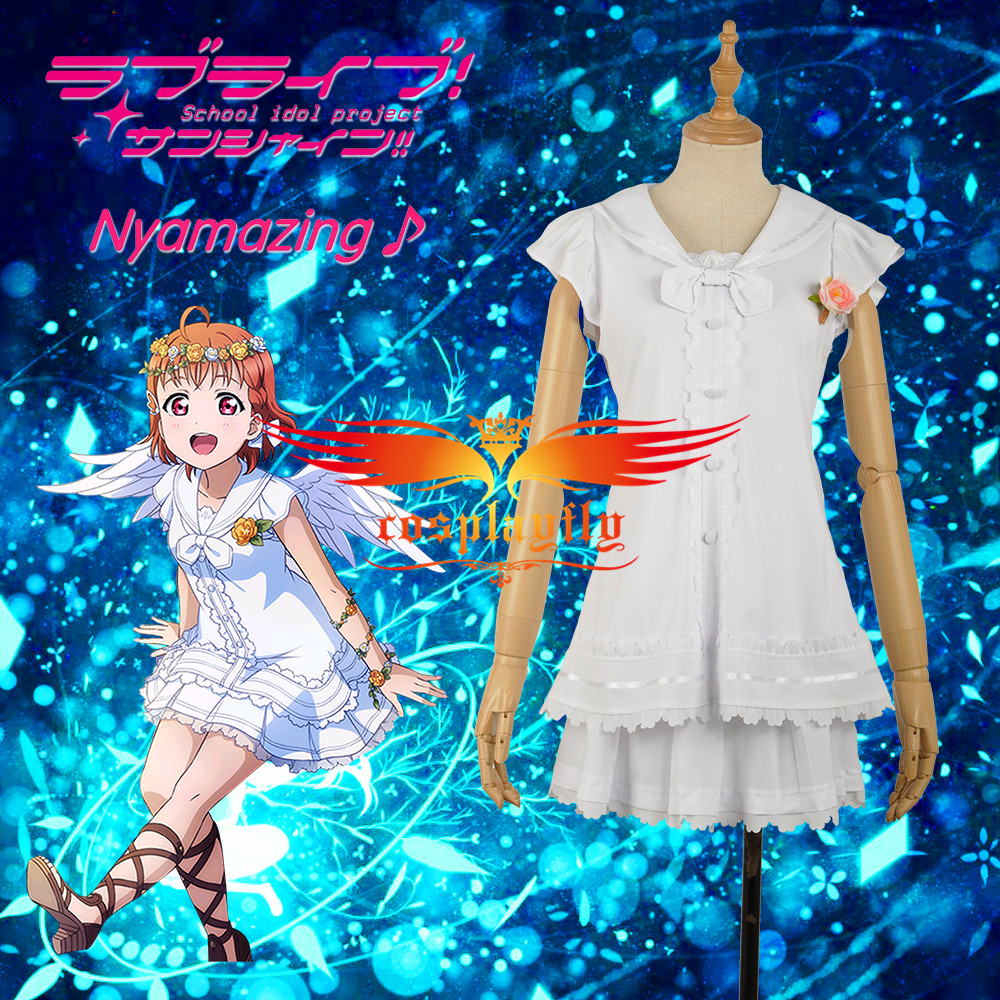Love Live Takami Chika Cosplay Costume Angels Unawakened Sexy Cap Sleeve Girl Party Dress Custom Made for Adult Women W1189-5
