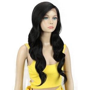 Image 3 - קסם שיער 26 Inch Ombre כהה אדום בלונד ארוך גלי פאות תחרה מול שיער סינטטי תחרת פאות עבור נשים שחורות חום עמיד שיער