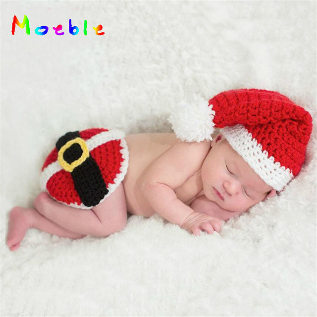 Crochet Baby Unisex Christmas Hat And Butt Cover Set Knitted Newborn Babies  Christmas Costume Photography Props Reb Color 9f77e816593