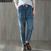 DIMANAF Women Harem Pants Denim Plus Size 2018 Spring Fashion Embroidery Floral Elastic Waist Long Jeans
