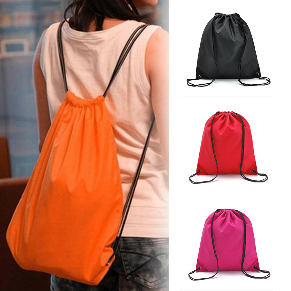 New Portable Waterproof Drawstring Backpack Travel Gym Solid Storage Bag Beam Port Sports Bag 6 color