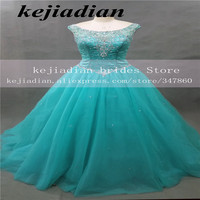 Gorgeous Turquoise Quinceanera Dresses Scoop Beaded 2017 Ball Gown Prom Dresses Pageant Gown Sweet 16 Dress