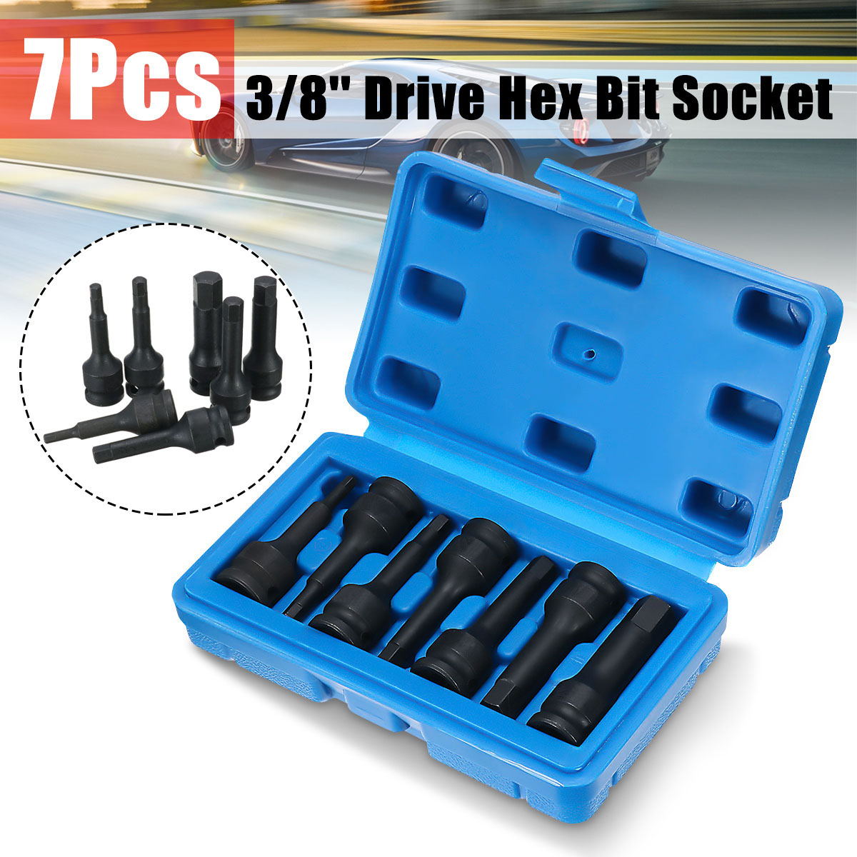 7 x 3/8'' Hex Bits Driver Impact Wrench Set Metric Air Socket Drill Bit Adapter Heavy Duty Deep 6 Point Axle Screwdriver Sets цена