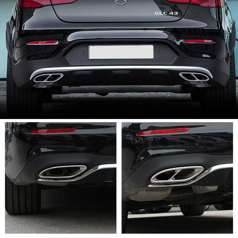 JHDS Exhaust Tail Tip For Mercedes Benz CLA C117 2013-2016 Car Tail Throat Cover Trim Exhaust Outlet Decoration Stickers 2Pcs Exhaust Muffler Tail Pipe Color : Black
