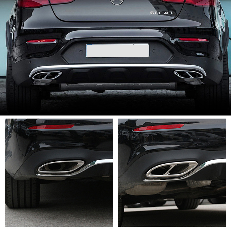 2PCS Car Tail Throat Exhaust Pipe Muffler Tip Steel Exhaust Trims for Merce des Be nz GLC C E-Class C207 Coupe 2014-2017 W213