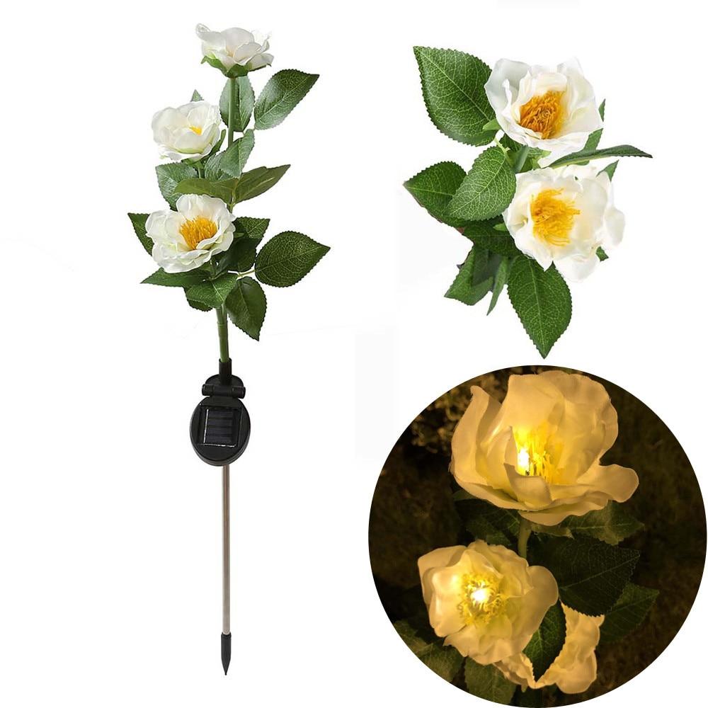 Stake Light Outdoor Solar Backyard Garden Stake Light Solar Powered 3 Camellia Flower Lights Car Lamp