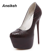 Aneikeh New Snakeskin Pumps 16 CM High With Club High Heels Sexy high-heeled shoes Round Toe Women Pumps Big Size 40 D-258-8#