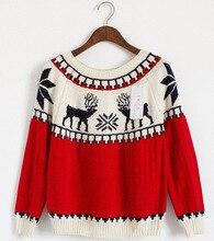 2016 Women Elk Knitted Sweater Animal Deer Winter Pullovers Christmas Sweater Lucky Red O-Neck Knitwear Vestidos Femininos T5262