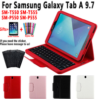 Keyboard Case for Samsung Galaxy Tab A 9.7 T550 T555 P550 P555 SM T550 SM T555 SM P550 Cover Funda Leather Shell+Keyboard+Film