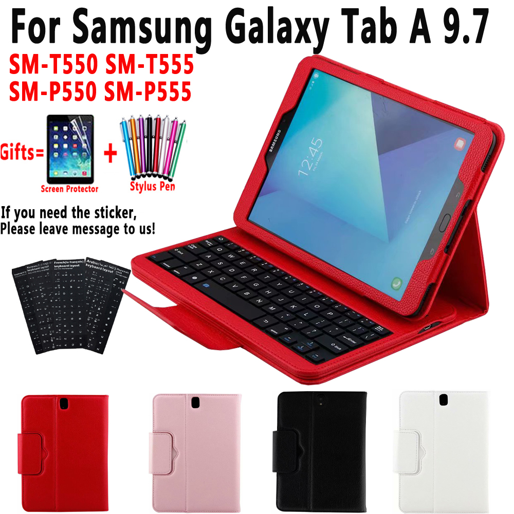Keyboard <font><b>Case</b></font> for <font><b>Samsung</b></font> <font><b>Galaxy</b></font> <font><b>Tab</b></font> A 9.7 <font><b>T550</b></font> T555 P550 P555 <font><b>SM</b></font>-<font><b>T550</b></font> <font><b>SM</b></font>-T555 <font><b>SM</b></font>-P550 <font><b>Cover</b></font> Funda Leather Shell+Keyboard+Film image