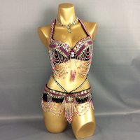 New Womens Belly Dancing set hip scarf Costumes Sexy Night dance bellydance Carnival Top Chain Bra&Belt clothes Indian black S/M