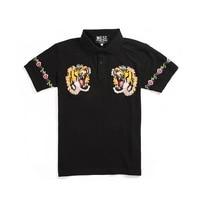 Summer Top Fashion Tiger Embroidery Polo Shirt Men Brand Short Sleeve Turndown Collar Polos Masculina Ropa Hombre Verano 2018