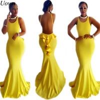 Elegant Trumpet Mermaid Long Gown Evening Dress Yellow Maxi Prom Dresses Robe De Soiree Tank Sleeveless