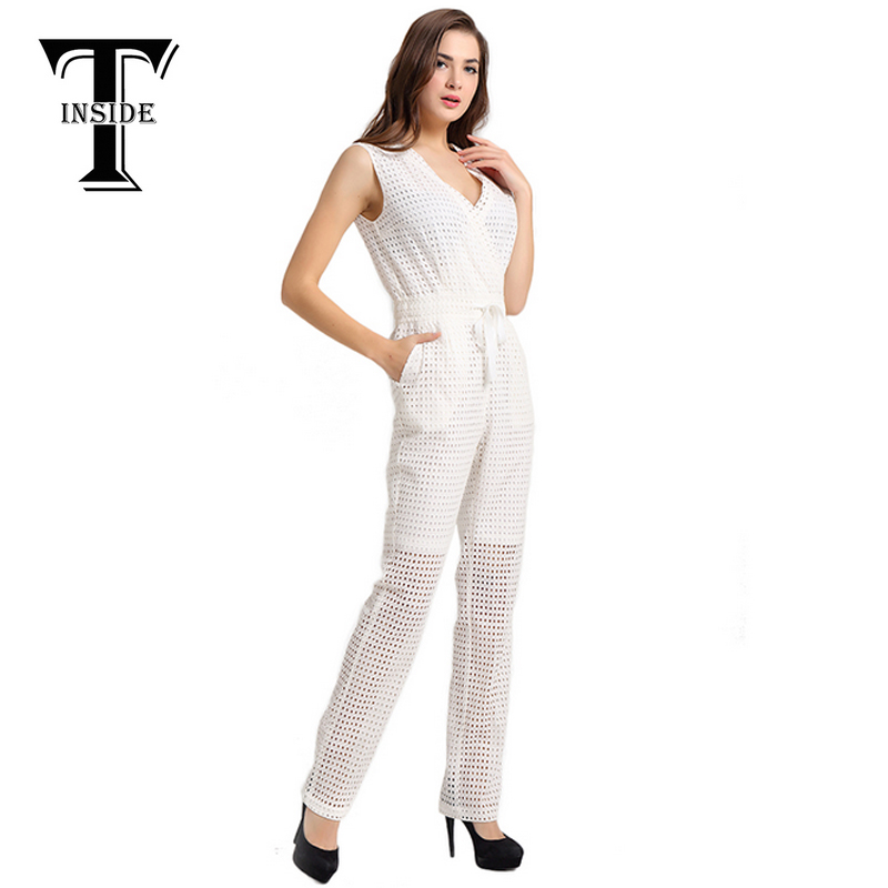 T Inside 2016 Women Elegant Cotton Sleeveless Jumpsuit Bodysuit Overall with High Waist and Hollow Out