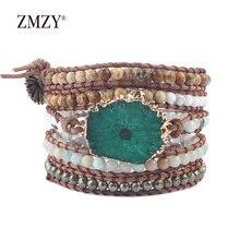 Женский браслет ручной работы zmzy кожаный с натуральным камнем