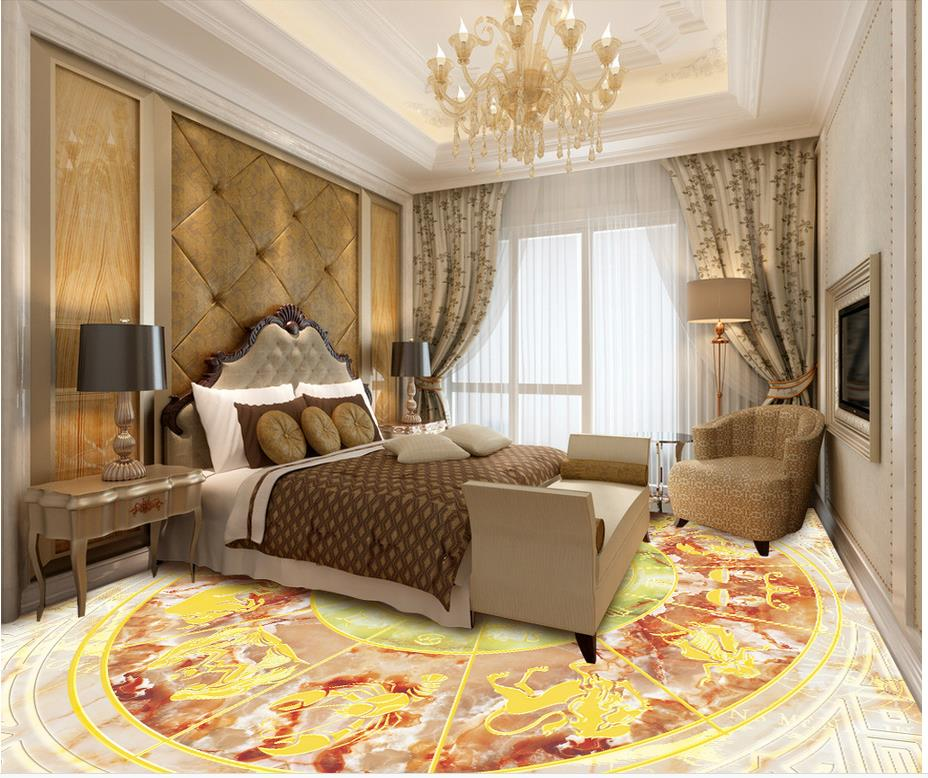 3d flooring Twelve Constellation compass marble flooring pvc self-adhesive wallpaper 3d floor painting wallpaper цена